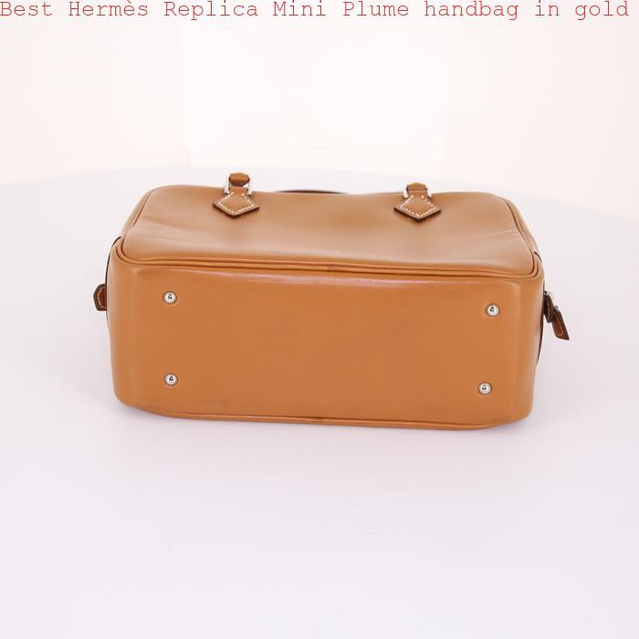 82bbea13036 Best Hermès Replica Mini Plume handbag in gold leather