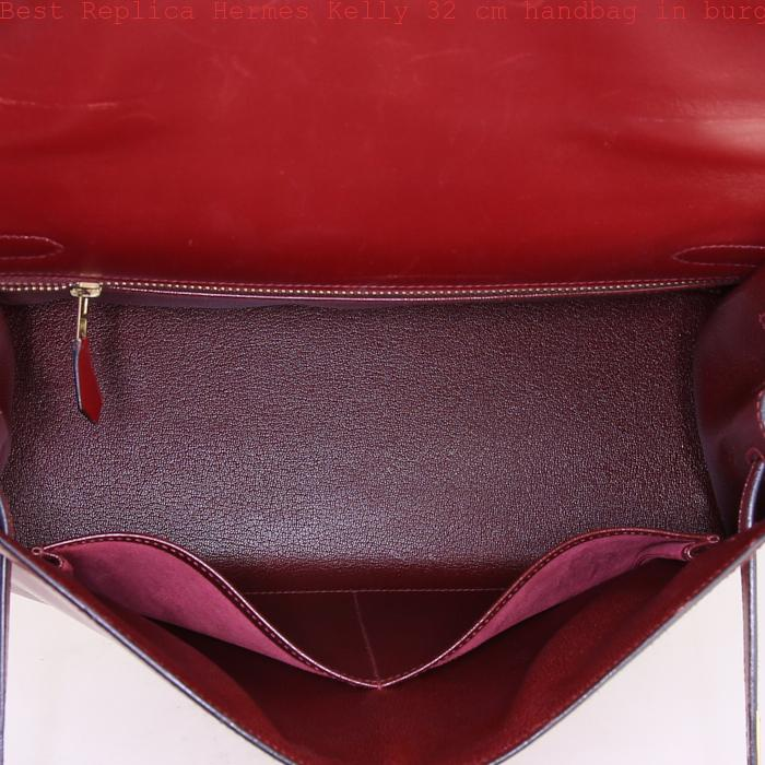 1cad2903c250 Best Replica Hermes Kelly 32 cm handbag in burgundy box leather ...