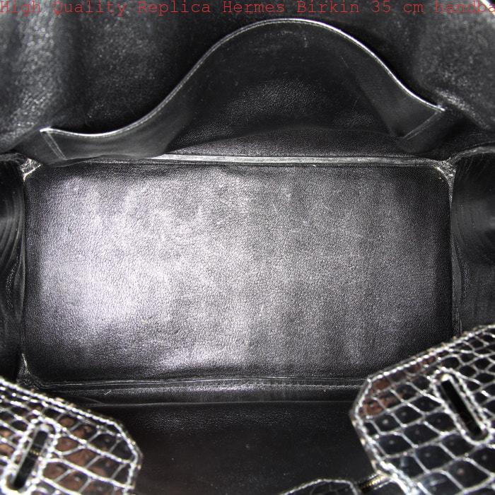 7b64ae97087d High Quality Replica Hermes Birkin 35 cm handbag in black porosus crocodile