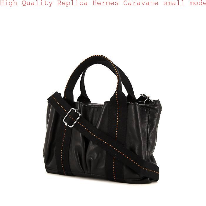 b7cfb09b7d3f High Quality Replica Hermes Caravane small model handbag in black leather  and black canvas