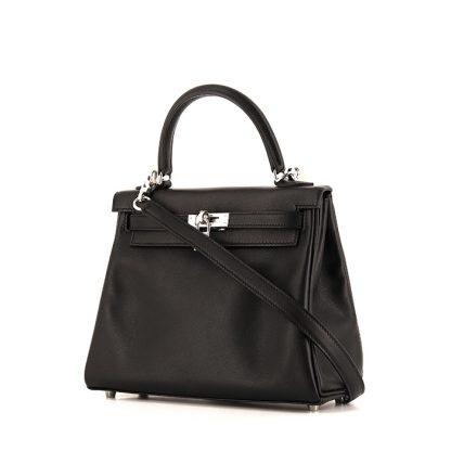 eb07ce584e8 Perfect Replica Hermes Kelly 25 cm handbag in black Swift leather ...