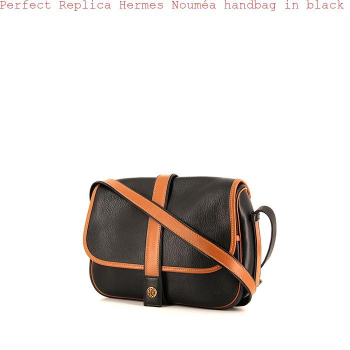 b17b3ce126b3 Perfect Replica Hermes Nouméa handbag in black and gold leather ...