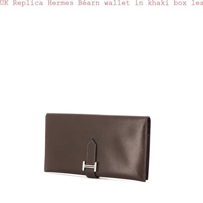 e6fd0e93bcf6 UK Replica Hermes Béarn wallet in khaki box leather – Best Birkin ...